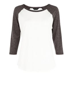 Grey Raglan 3/4 Sleeve Top | New Look