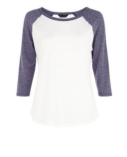 Blue Raglan 3/4 Sleeve Top | New Look