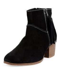 Wide Fit Black Leather Tassel Side Block Heel Ankle Boots  | New Look