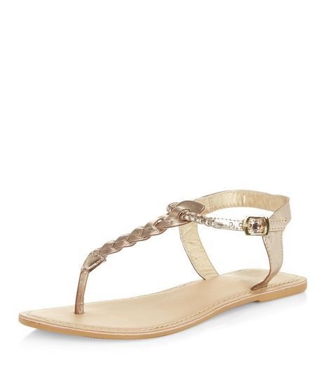 Wide Fit Gold Leather Twist T-Bar Sandals | New Look