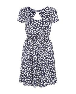 Blue Floral Print Shirred Waist Skater Dress  | New Look