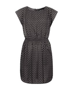 Black Tile Print Shirred Waist Dress | New Look