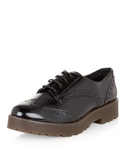 Black Patent Chunky Lace Up Brogues  | New Look