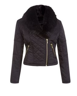 Black Quilted Faux Fur Collar Jacket  | New Look