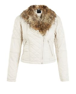 Mink Quilted Faux Fur Collar Jacket  | New Look