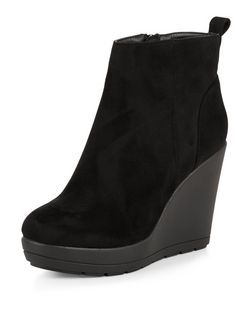 Black Suedette Wedge Boots | New Look