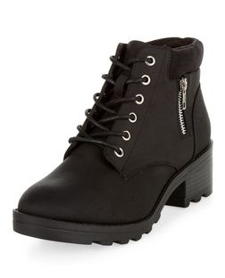 Black Lace Up Zip Side Boots | New Look
