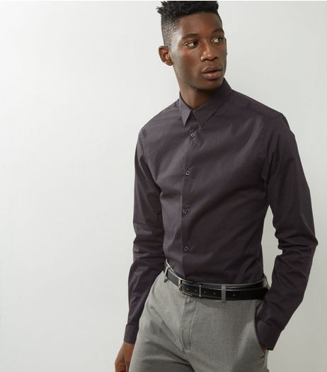 Black Stretch Super Slim Fit Long Sleeve Shirt  | New Look