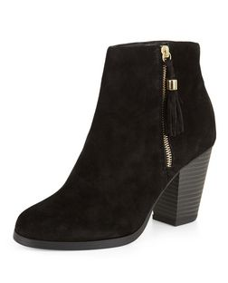 Black Suede Tassel Side Zip Block Heel Boots  | New Look