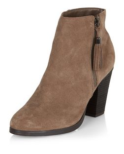 Light Brown Suede Tassel Side Zip Block Heel Boots  | New Look