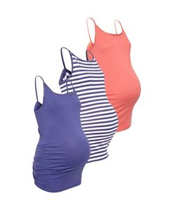 Maternity 3 Pack Purple Coral and White Stripe Cami  | New Look