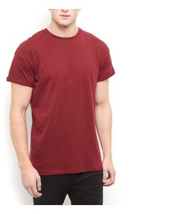 Burgundy Roll Sleeve T-Shirt | New Look