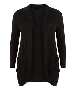 Plus Size Black Ribbed Drop Pocket Cardigan  | New Look