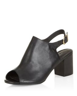 Black Leather Comfort Peep Toe Sling Back Block Heels  | New Look