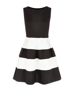 Cameo Rose Black Scuba Black Stripe Skater Dress  | New Look