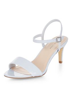 Pale Blue Mid Heel Sandals  | New Look