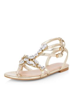 Gold Metallic Gem Stone Embellished Sandals  | New Look