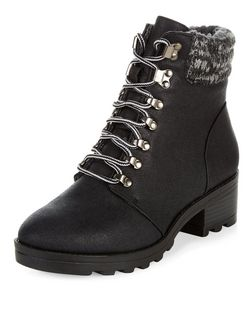 Black Knit Cuff Lace Up Boots  | New Look