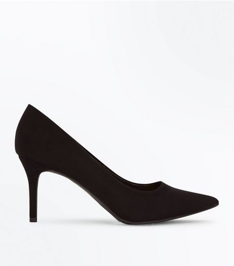 Black Pointed Mid Heel Court Shoes  | New Look
