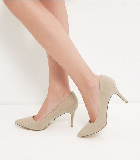 Stone Pointed Mid Heel Court Shoes | New Look