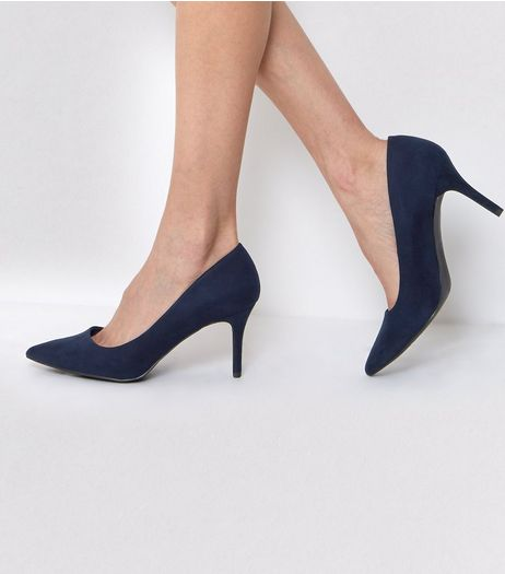 Navy Pointed Mid Heel Court Shoes | New Look