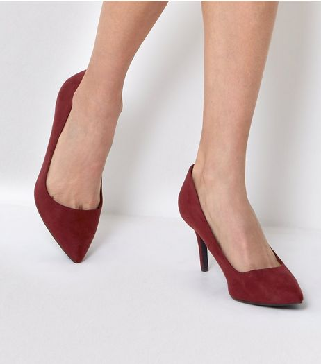 Burgundy Pointed Mid Heel Court Shoes | New Look