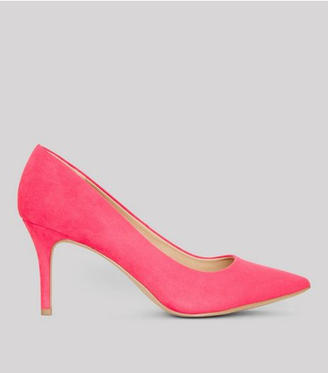 Pink Pointed Mid Heel Court Shoes | New Look