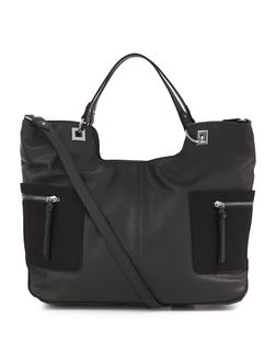 Black Side Pocket Tote Bag | New Look