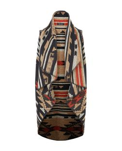Black Aztec Print Waterfall Gilet  | New Look