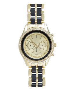 Black Diamante Trim Double Links Sports Watch | New Look