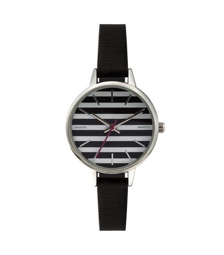Black Textured Strap Watch  | New Look
