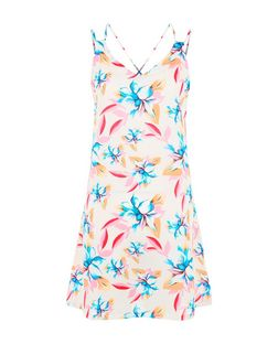 Belle Heart Cream Tropical Print Cami Dress  | New Look