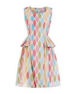 Cutie Cream Abstract Print Peplum Sleeveless Dress  | New Look