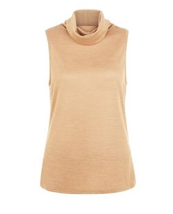 Camel Cowl Neck Sleeveless Top | New Look
