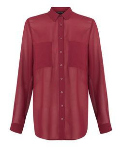 Burgundy Sheer Dip Hem Shirt | New Look