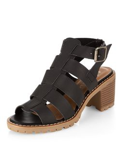 Teens Black Gladiator Block Heel Sandals  | New Look