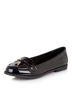 Black Patent Tassel Loafers | New Look