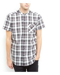 White Monochrome Check Shirt  | New Look