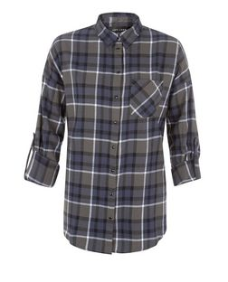 Green Check Drop Arm Roll Sleeve Shirt  | New Look