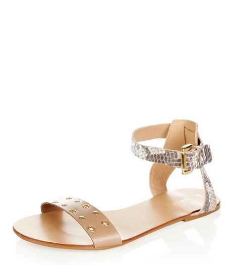 Light Brown Leather Contrast Eyelet Sandals  | New Look