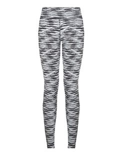 Black Abstract Print Sports Leggings  | New Look