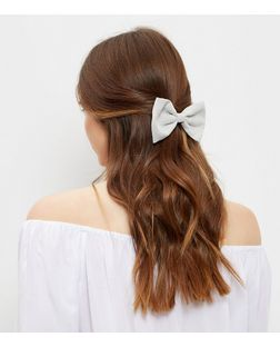 Grey Suedette Bow  | New Look