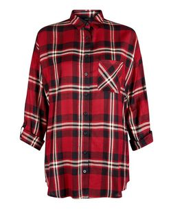 Red Single Pocket Check Shirt  | New Look