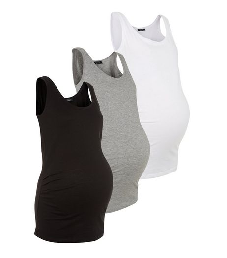 Maternity 3 Pack Black Grey And White Vest Set | New Look