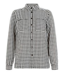 Black Gingham Check Long Sleeve Boyfriend Shirt | New Look