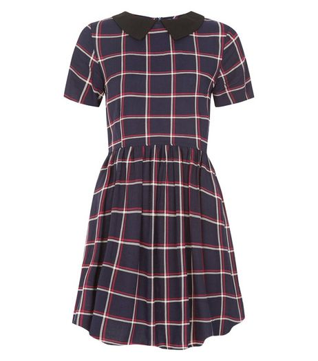 Brave Soul Blue Check Collared Dress | New Look