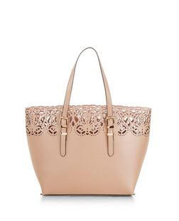 Pink Laser Cut Out Shopper Bag | New Look