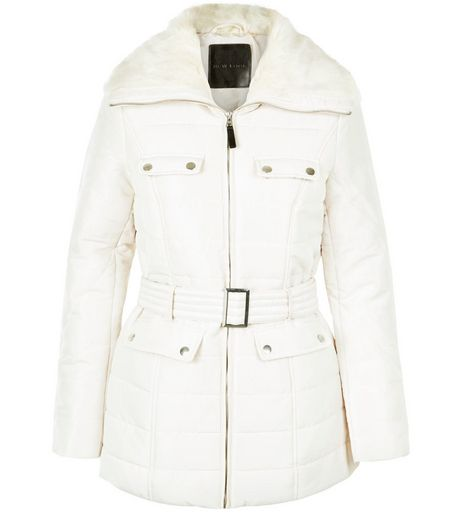 Cream Faux Fur Collar Padded Jacket  | New Look