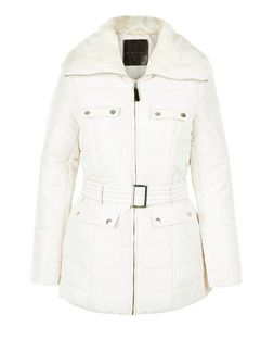 Mink Faux Fur Collar Padded Jacket  | New Look