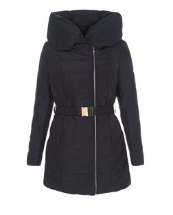 Navy Snood Padded Jacket  | New Look